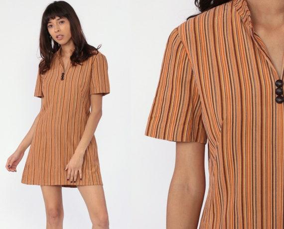 STRIPED Mini Dress Boho Corduroy Dress 80s 90s Short Sleeve Minidress Shift Tan Orange Brown Bohemian Hippie Vintage 1980s Retro Medium