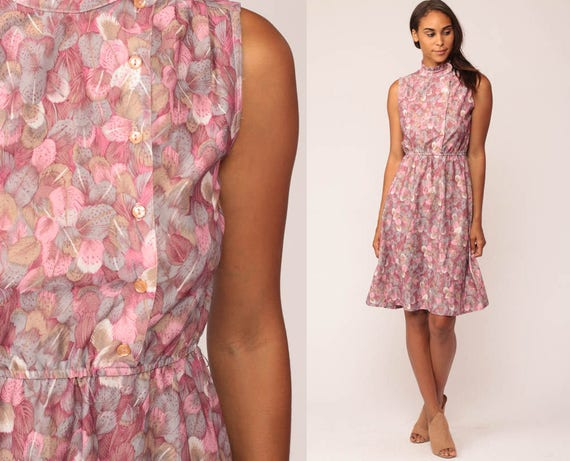Boho Dress FEATHER PRINT Dress 70s Hippie Mini High Waisted ASYMMETRICAL Button Up Sleeveless Vintage Boho Pink Bohemian Retro Small