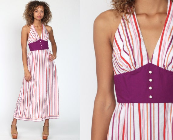 Halter Neck Dress Purple Striped Maxi Dress 70s Hippie Backless Cotton Deep V Neck Empire Waist 1970s Sundress Vintage Sun Extra Small xs