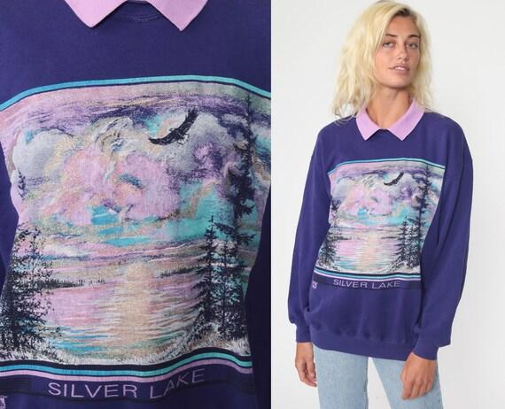 Glitter Eagle Sweatshirt 80s Silver Lake Shirt Purple Animal Shirt Graphic Print Jumper Slouchy Sweater Vintage 90s Jerzees Small Medium