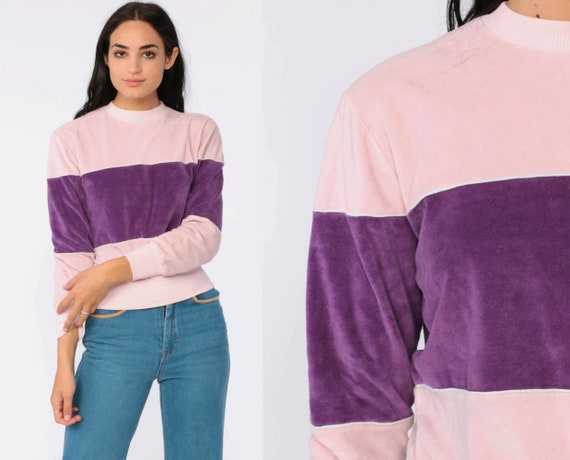 Pink Velour Sweatshirt -- Color Block Shirt Slouchy 80s Purple Pullover Jumper 1980s Striped Pastel Slouch Vintage Long Sleeve Small