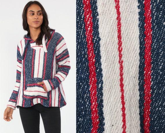 Baja Pullover Jacket Drug Rug Hoodie Striped MEXICAN Jerga Hippie Boho Hooded Sweatshirt Ethnic Vintage Blanket Red Blue White Medium