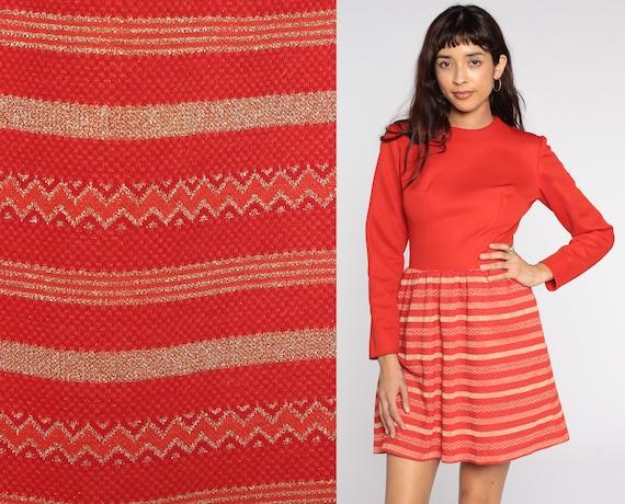 60s Mod Dress Red Striped Gold Metallic Space Age Dress 70s Mini High Waist Dress White Vintage Long Sleeve Minidress Small
