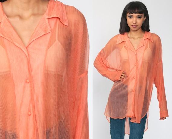 90s Victoria's Secret Shirt Sheer Blouse Orange Top Button Up Vintage Collar Long Sleeve Shirt 1990s Clueless  Small Medium Large
