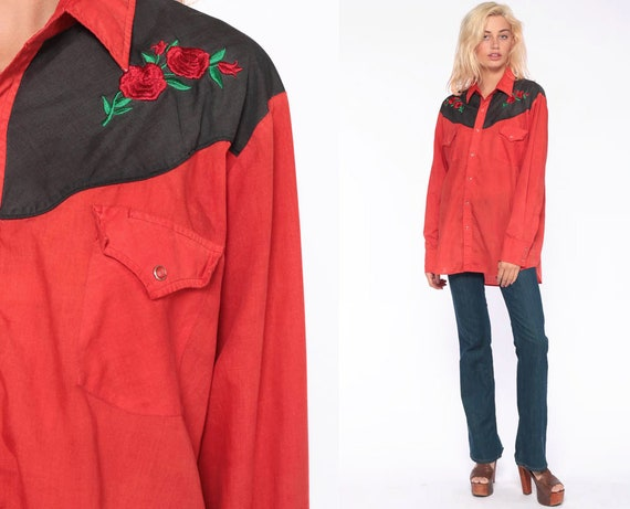 Western Rose Shirt -- 80s Pearl Snap Red Embroidered Cowboy Button Up Top 70s Vintage Hipster Black Long Sleeve Rockabilly Extra Large xl l