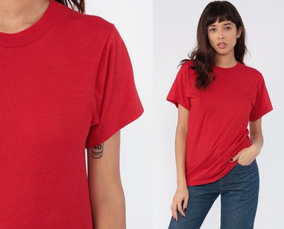 Red T Shirt 80s Single Stitch T Shirt Plain TShirt Vintage Paper Thin Burnout Tshirt Top Retro Tee Basic 1980s Vintage Retro Small