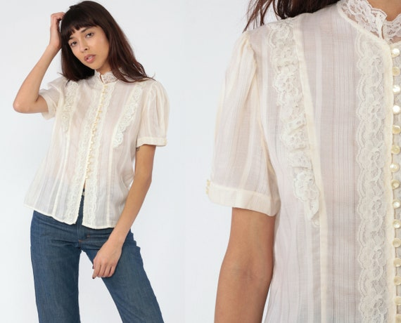 Sheer Victorian Blouse -- 70s Puff Sleeve Top Boho Shirt Sheer Lace Top Ivory Pearl Button Up Hippie Vintage 1970s Bohemian Medium