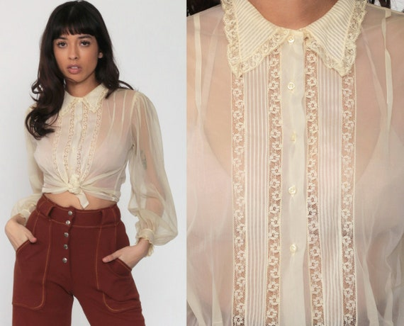 Cream Chiffon Blouse Sheer Lace Top 70s Boho Party Cocktail Collar Shirt Button Up Vintage 1970s Bohemian Long Puff Sleeve Small