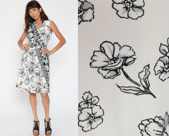 70s Midi Dress Black White Floral Faux Wrap Mod Boho High Waisted Vintage Bohemian Sleeveless V Neck Medium