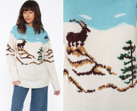 70s Ski Sweater MOUNTAIN GOAT Winter Sweater Knit 80s Retro Boho Nordic 1980s Slouchy Vintage Hipster Raglan Sleeve Pullover Extra Small xs