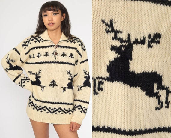 REINDEER Sweater 80s Wool Knit Sweater Cream Vintage Animal Sweater Nordic Christmas Sweater Deer Ski Sweater Pullover 1980s Men's Large