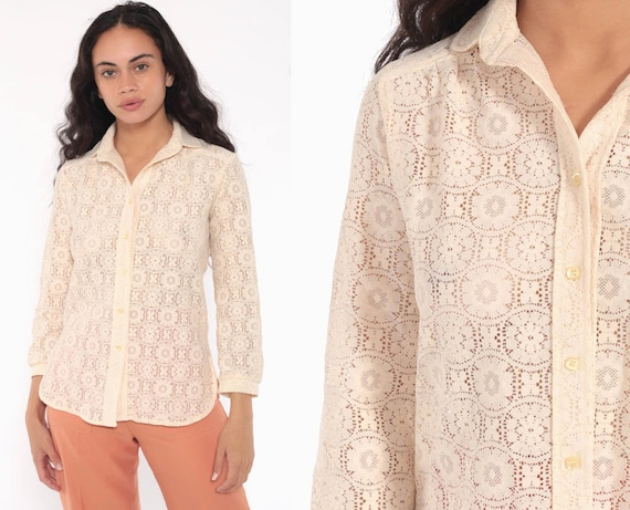 Sheer Lace Blouse Cream Lace Shirt 70s Boho Top Button Up Floral Vintage Romantic Bohemian Long Sleeve Small