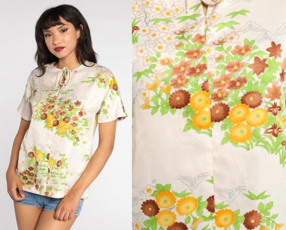 70s Floral Blouse Keyhole Cut Out Shirt Yellow Off White Boho Top 1970s Vintage Retro Hippie Bohemian Small S