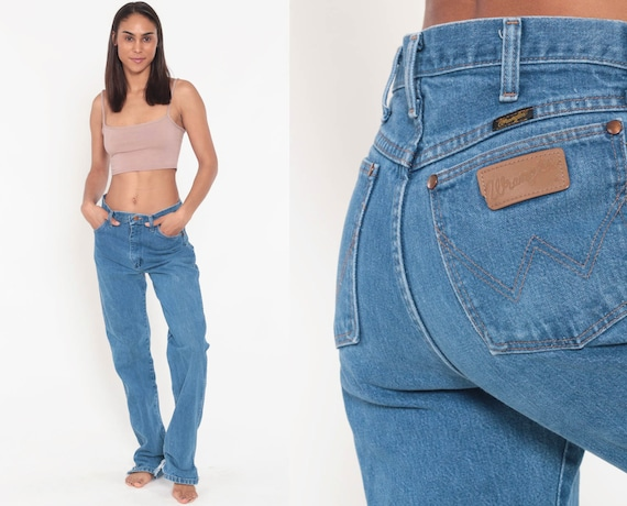 Wrangler Jeans High Waisted Jeans 70s Jeans Straight Leg Hippie Boho 70s Denim Pants Blue 1970s Vintage Hipster Medium 10 30
