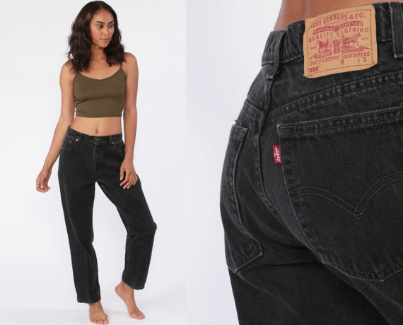 90s Black Mom Jeans 30 Levis Jeans High Waist Jeans 80s Jeans Levi Denim Pants 550 Vintage Levi Strauss Tapered Slim 90s Medium Short