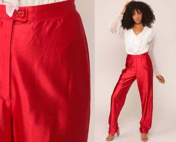 Red Disco Pants Red Shiny Pants High Waisted Trousers 70s Vintage Rock Glam Party Rave Clubwear 1970s Small