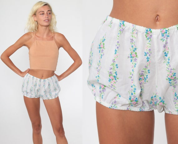 Floral Bloomer Shorts 70s Cotton Shorts Boho Hippie Summer Hot Pants High Waisted Retro Hotpants Bohemian Vintage 60s White Small xs