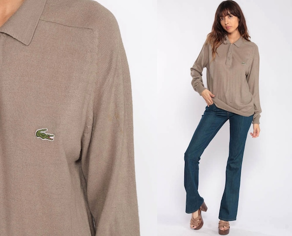 Taupe Lacoste Sweater Polo Sweater 90s Slouchy Izod Pullover Sweater Distressed Vintage 80s Preppy Slouch Crocodile Nerd Medium