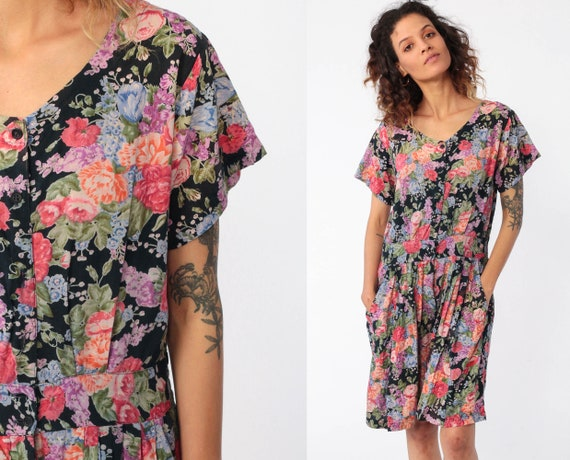 Floral Playsuit Grunge Romper Dress 90s Boho One Piece Woman 1990s Mini Dress Wide Leg Onesie Button Up Summer Indian Pocket Small