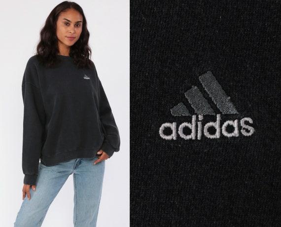 ADIDAS Sweatshirt Black Crewneck Pullover 90s Streetwear Shirt Black Sweatshirt Slouch 1990s Vintage Sportswear Jumper Medium Large