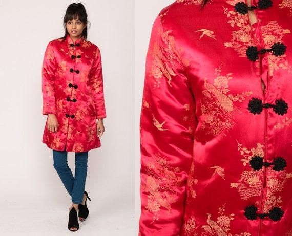 Satin Chinese Jacket Asian Red EMBROIDERED PEACOCK 90s Boho Bird Silky Vintage 1990s Bohemian Mandarin Collar Small