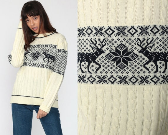 Reindeer Sweater Cream DEER Sweater 80s Christmas Vintage Cable Knit Boho Slouchy Ski Pullover 1980s Nordic Bohemian Men's Medium