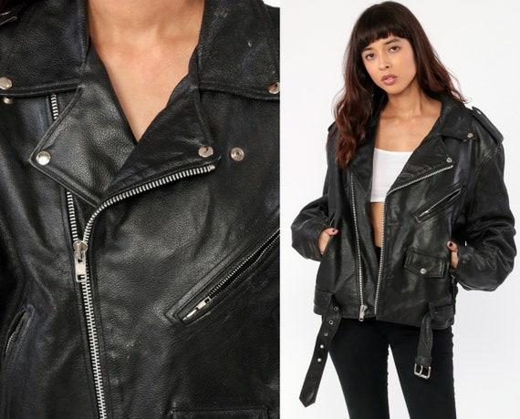 Leather Motorcycle Jacket -- Leather Jacket 80s Black Biker 1980s Vintage Moto Punk Rock Hipster Coat Epaulette Medium Large