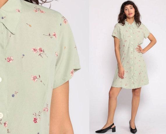 Floral Mini Dress 90s Grunge Button Up Green High Collar Dress 1990s Vintage Retro Sheath Short Sleeve Summer Minidress Small 6