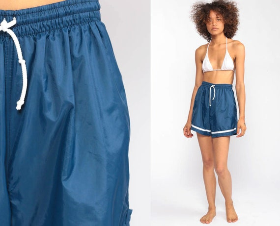 Blue Gym Shorts -- Jogging Shorts 80s Running Shorts High Waisted Nylon Athletic Retro Joggers Sports Vintage Hipster Extra Small xs xxs