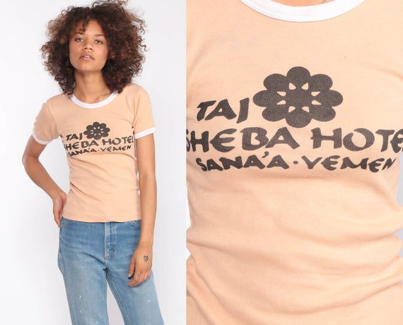Ringer Tee Shirt TAJ SHEBA Hotel YEMEN TShirt 80s T Shirt Graphic Shirt Hipster Retro Tee Baby Teee Sana'a Vintage Extra Small xs