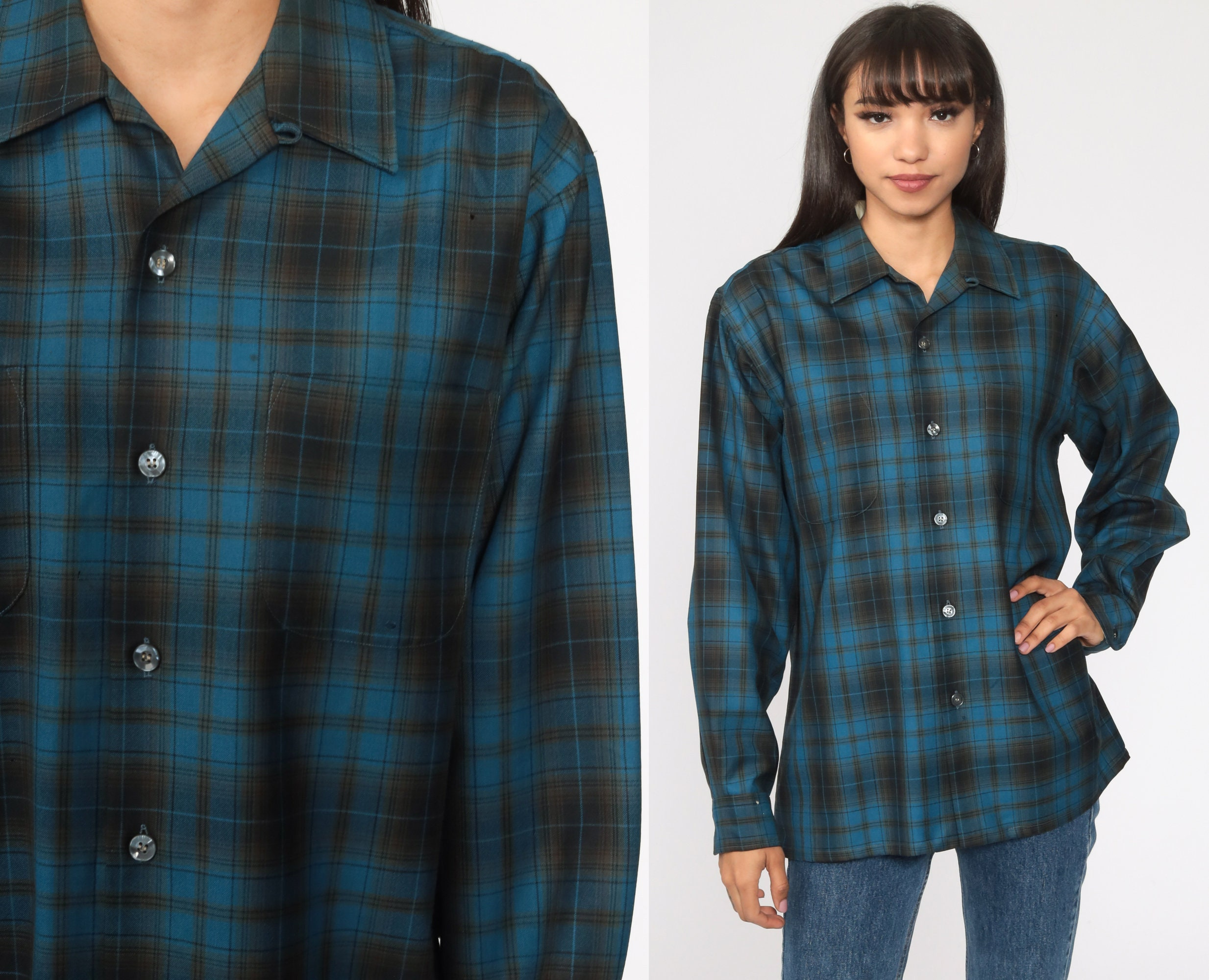 80s Tops, Shirts, T-shirts, Blouse   90s T-shirts Wool Plaid Shirt Blue Flannel Worsted 80S Long Sleeve Button Up 1980S Vintage Lumberjack Retro Medium Large $37.00 AT vintagedancer.com