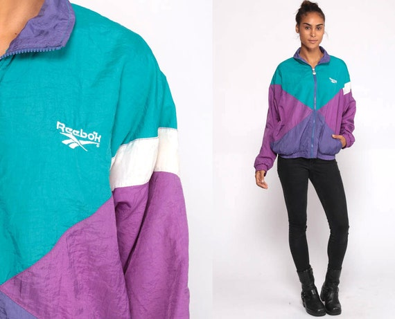 Reebok Jacket 90s Windbreaker Jacket Streetwear Warm Up Sports  Vintage Color Block Purple Teal Track Jacket Medium