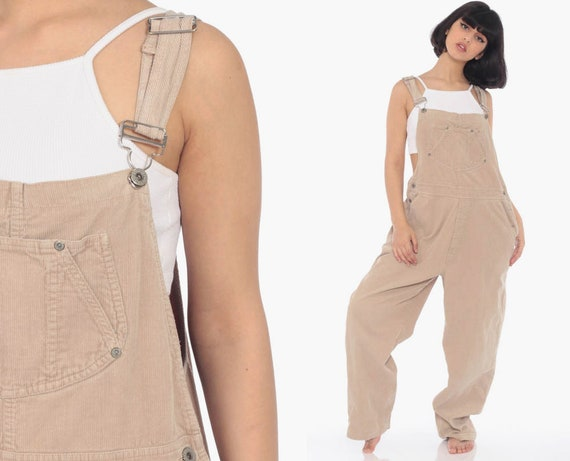 GAP Corduroy Overalls Women 90s Grunge Suspender Pants 80s Baggy Bib Cargo Tan Vintage Dungarees 90s Streetwear Coveralls Retro Large