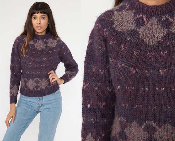 70s Wool Sweater Purple Checkered Sweater Argyle Knit 80s Pullover Jumper Knit Fair Isle Sweater 1970s Vintage Extra Small xs s