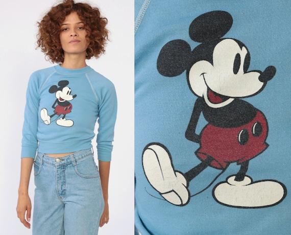 Disney Mickey Mouse Sweatshirt -- 80s Baby Blue Disneyland Sweater Raglan Sleeve Grunge Shirt Cartoon Crewneck Vintage Retro Extra Small 2XS