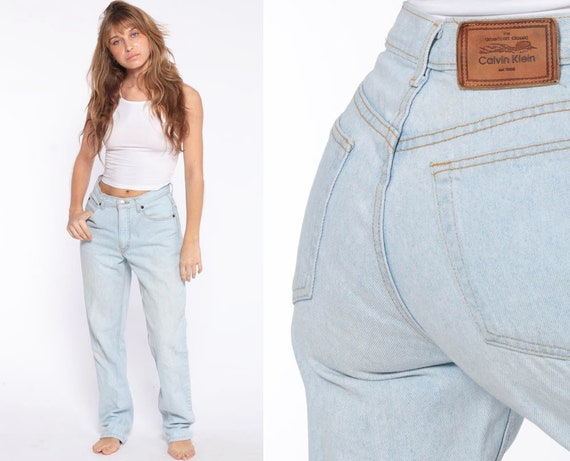 Calvin Klein Mom Jeans 28 -- Light Blue Slim High Waisted Jeans CK 90s Denim Pants Tapered Blue 1990s Vintage Hipster Small