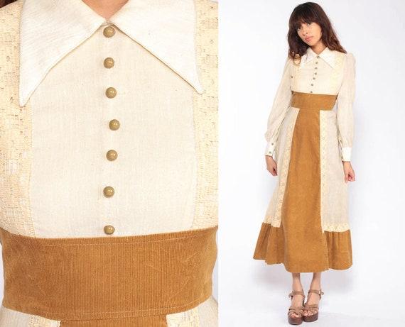 Bohemian Dress 70s Maxi Cream Lace Boho Dress Puff Sleeve CORDUROY Tiered 1970s Semi-Sheer Collared Empire Waist Long Vintage Extra Small xs
