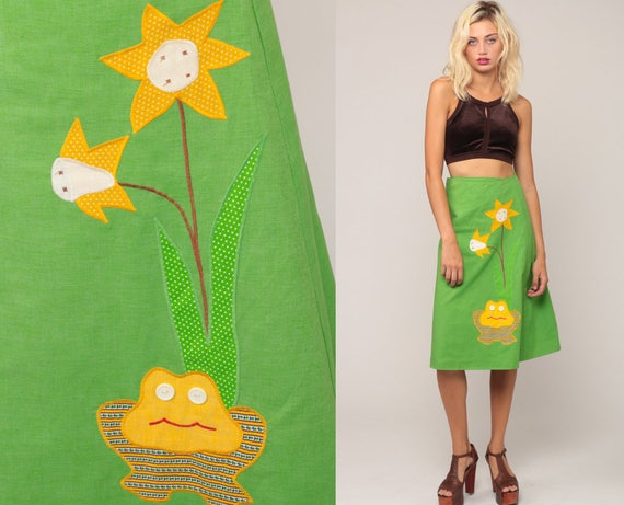 Wrap Skirt 70s Hippie FROG PRINT Midi Green Floral 1970s Boho Animal Cotton Bohemian High Waist Vintage Novelty Festival Small Medium Large