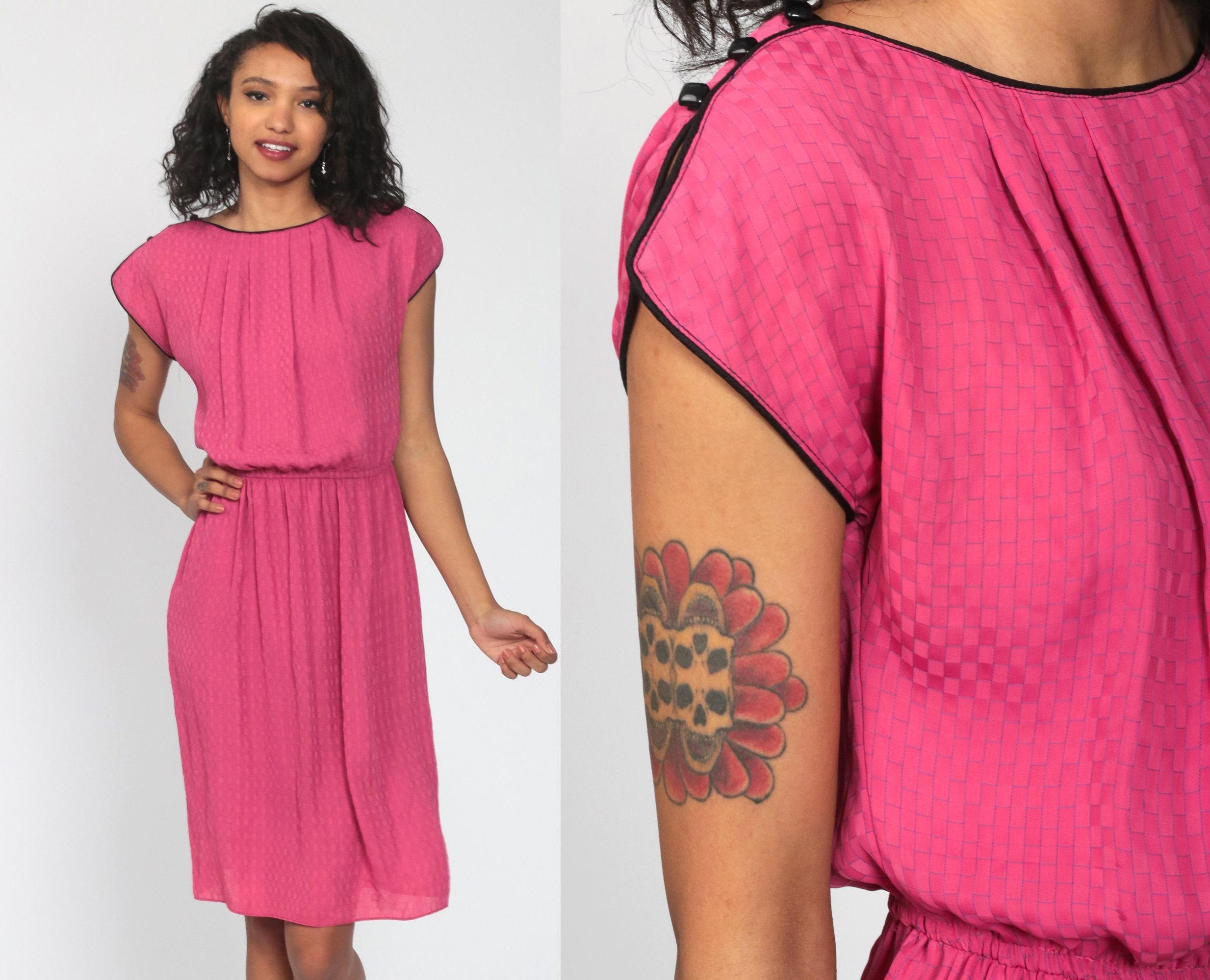 70s Midi Dress Plain Pink Split Cap Sleeve Ringer Dress 1970s High Elastic Waist Blouson Secretary Retro Vintage 80s Day Small s