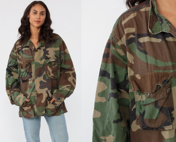 US Army Shirt Camo Jacket Camouflage Military Utility Patch Commando Cargo Field Button Up Oversized Button Up Collared Grunge Large