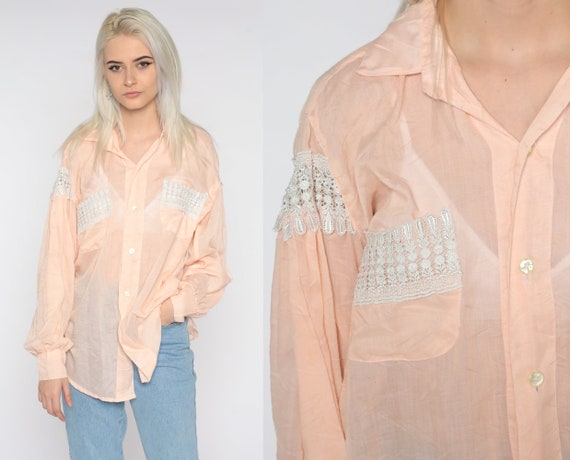 90s Sheer Shirt Peach Pink Crochet Lace Top Pastel Button Up Shirt Vintage See Through Blouse Collar Long Sleeve Shirt 1990s Extra Large xl