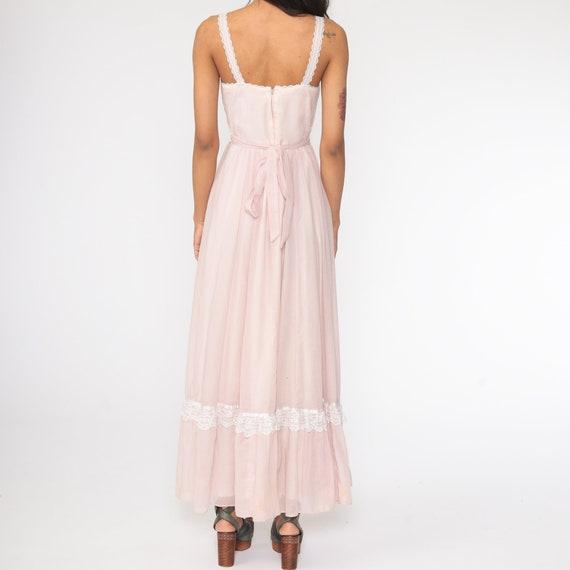 Gunne Sax Dress 70s Maxi PRAIRIE Baby Pink Butter… - image 8