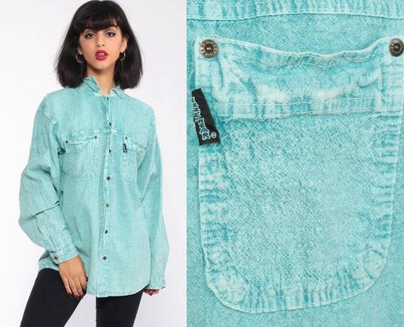 Acid Wash Shirt 90s Turquoise Jean Shirt Grunge 80s Long Sleeve Button Up Vintage Cotton Oversize Boyfriend Small Medium