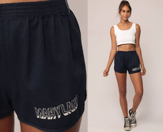 Champion Shorts MARYLAND Shorts 80s Running Shorts Gym Shorts High Waist Retro Jogging Shorts Navy Blue Vintage Hipster Small Medium