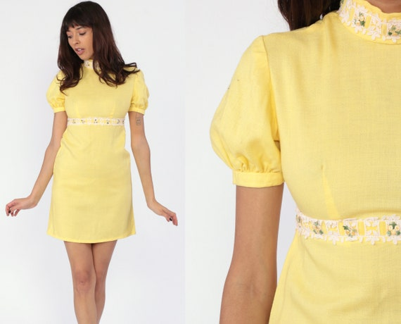 70s Babydoll Dress Mini Puff Sleeve Yellow Floral 60s Mod Party Dolly Lolita Bohemian Empire Waist Vintage Lace Boho Extra Small XS