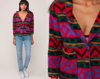 Fleece Jacket Tribal Print BLAZER 90s Aztec SOUTHWESTERN Bohemian Vintage Hipster Southwest Boho Hippie Blanket Jacket Ethnic Small Medium