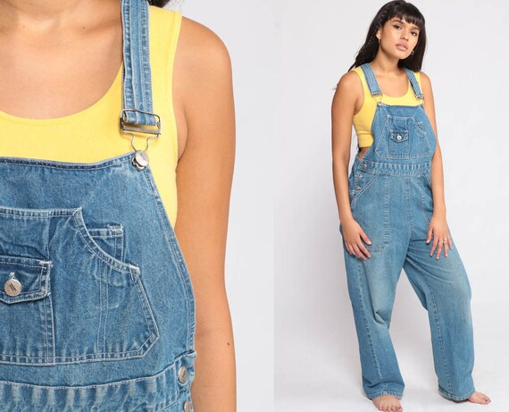 Overalls Pants Bib 90s Denim Pants Jean Dungarees Coveralls Long Grunge Hipster Blue Vintage Carpenter Medium