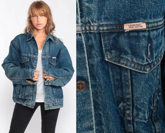 80s Jean Jacket Blue Denim Jacket Coat Biker Blue Trucker Jacket PLAID LINED Vintage Hipster Oversize Retro Boyfriend Large