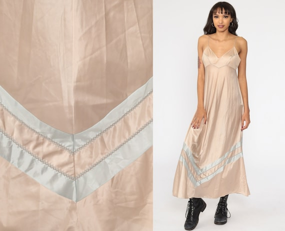 Champagne Nightgown Metallic Silver Striped Nightgown Lingerie Slip Dress 70s Maxi Boho Empire Vintage 1970s Bohemian 36 Medium