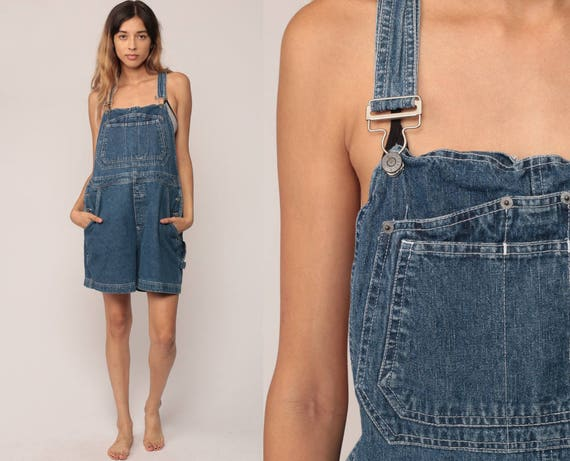 Denim Overall Shorts Shortalls Bill Blass 90s Grunge Jean Bib Suspender Blue Denim One Piece Woman Vintage 80s Romper Large